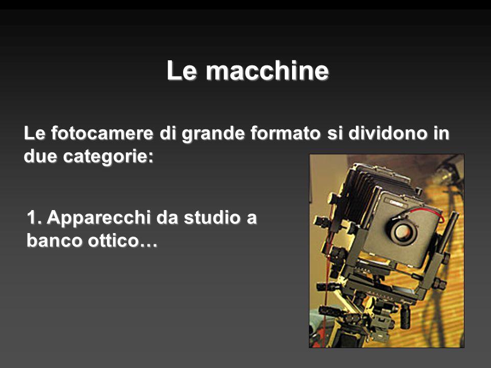 Le macchine Le fotocamere di grande formato si dividono in due categorie: 1. Apparecchi da studio a banco ottico…