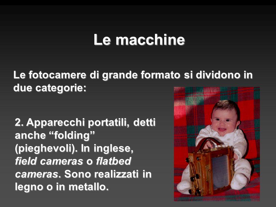 Le macchine Le fotocamere di grande formato si dividono in due categorie: 2. Apparecchi portatili, detti anche folding (pieghevoli). In inglese, field