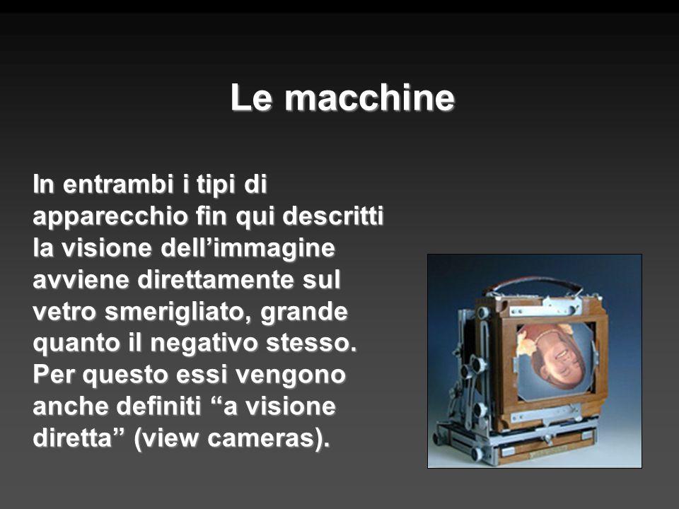 Le macchine In entrambi i tipi di apparecchio fin qui descritti la visione dellimmagine avviene direttamente sul vetro smerigliato, grande quanto il n