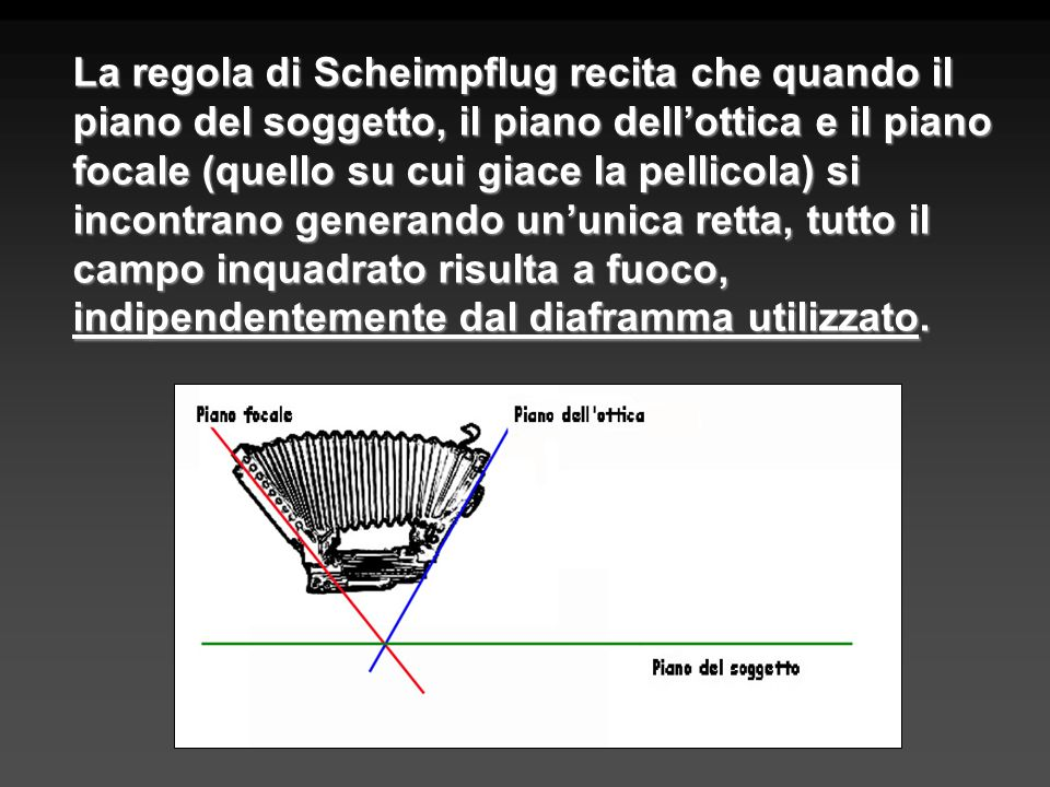 La regola di Scheimpflug recita che quando il piano del soggetto, il piano dellottica e il piano focale (quello su cui giace la pellicola) si incontra