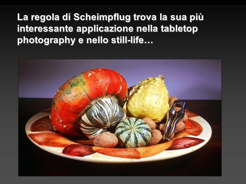 La regola di Scheimpflug trova la sua più interessante applicazione nella tabletop photography e nello still-life…