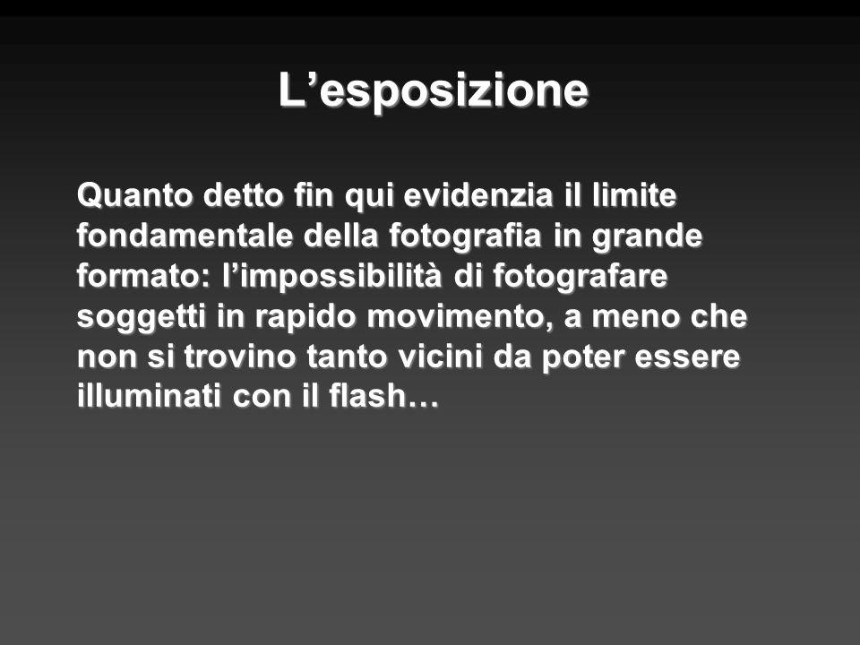 Lesposizione Quanto detto fin qui evidenzia il limite fondamentale della fotografia in grande formato: limpossibilità di fotografare soggetti in rapid