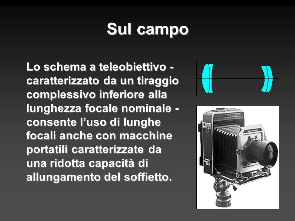 Sul campo Lo schema a teleobiettivo - caratterizzato da un tiraggio complessivo inferiore alla lunghezza focale nominale - consente luso di lunghe foc