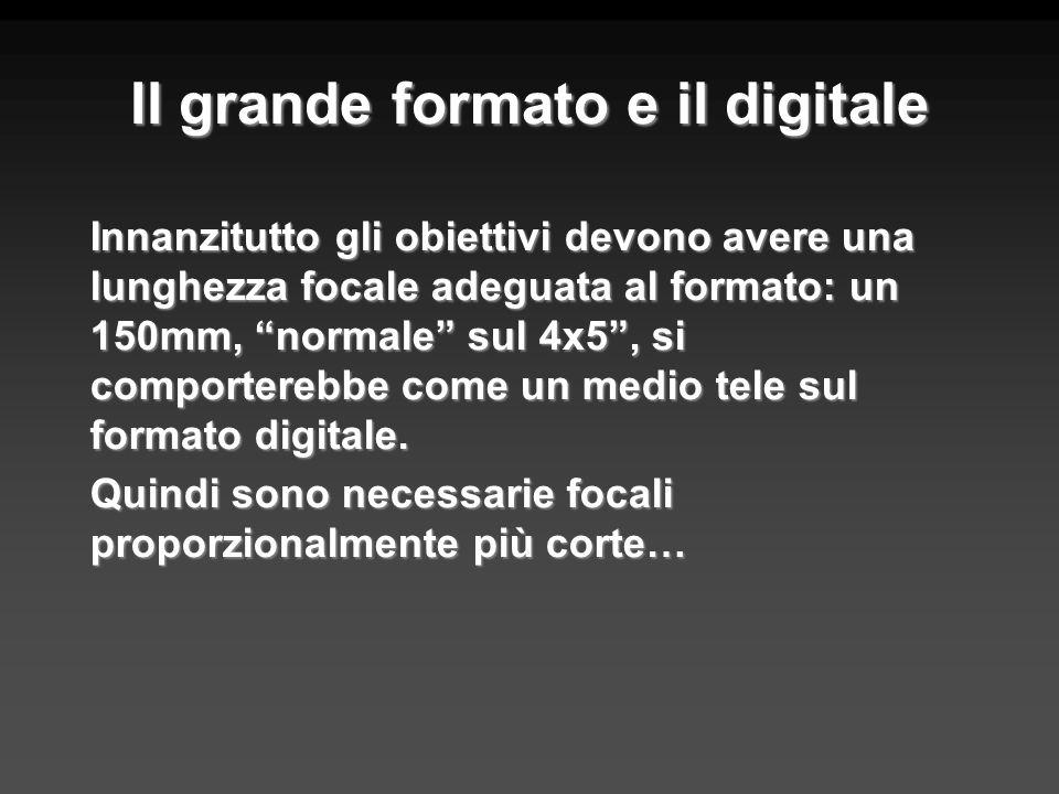 Il grande formato e il digitale Innanzitutto gli obiettivi devono avere una lunghezza focale adeguata al formato: un 150mm, normale sul 4x5, si compor