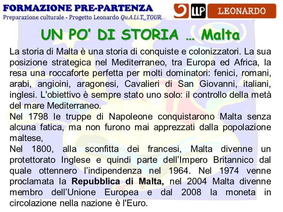 FORMAZIONE PRE-PARTENZA Preparazione culturale - Progetto Leonardo Qu.A.Li.T._TOUR. UN PO DI STORIA … Malta La storia di Malta è una storia di conquis