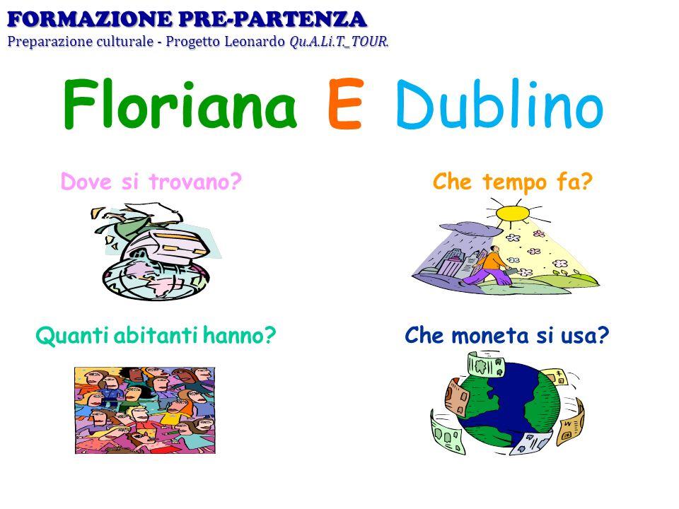 Dove si trovano? Floriana E Dublino Che tempo fa? Quanti abitanti hanno?Che moneta si usa? FORMAZIONE PRE-PARTENZA Preparazione culturale - Progetto L