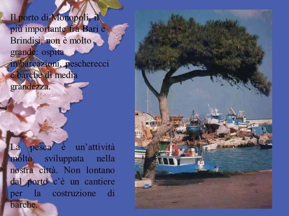Il porto di Monopoli, il più importante fra Bari e Brindisi, non è molto grande: ospita imbarcazioni, pescherecci e barche di media grandezza. La pesc