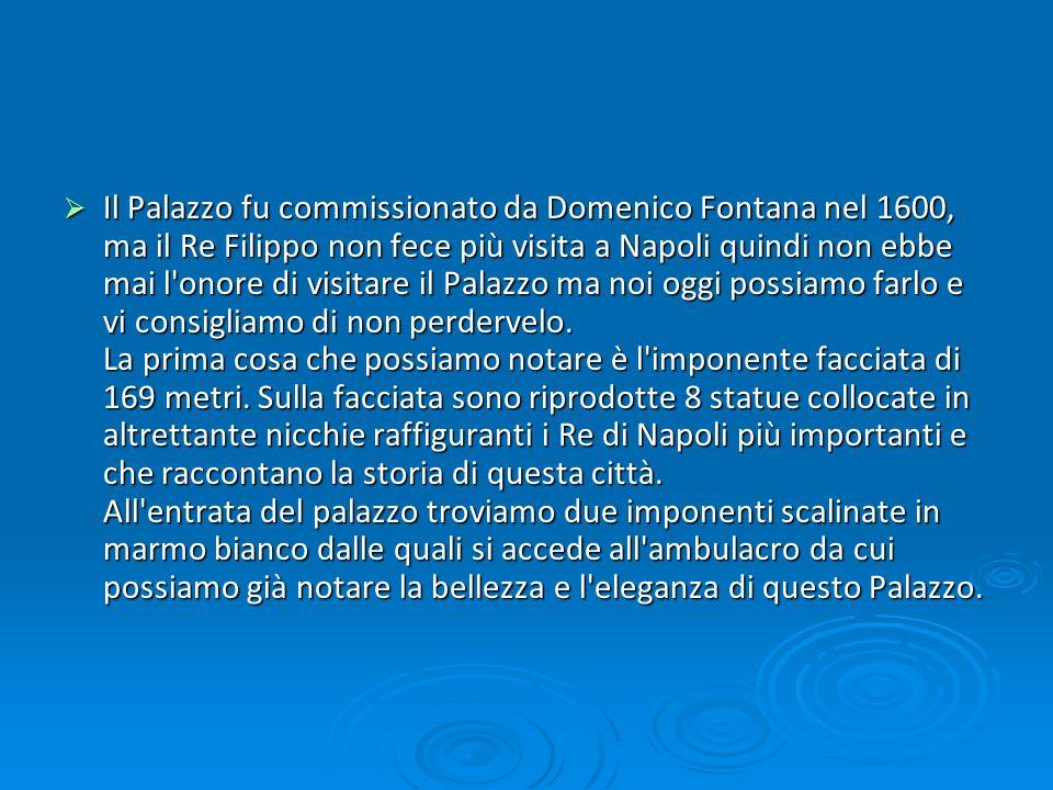 Il Palazzo fu commissionato da Domenico Fontana nel 1600, ma il Re Filippo non fece più visita a Napoli quindi non ebbe mai l'onore di visitare il Pal