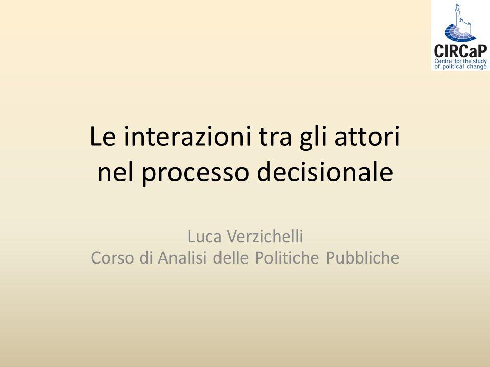 Le interazioni tra gli attori nel processo decisionale Luca Verzichelli Corso di Analisi delle Politiche Pubbliche