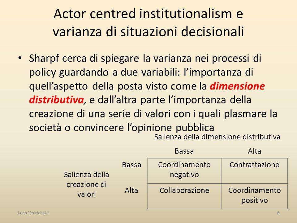 Arene decisionali Dove interagiscono gli attori.