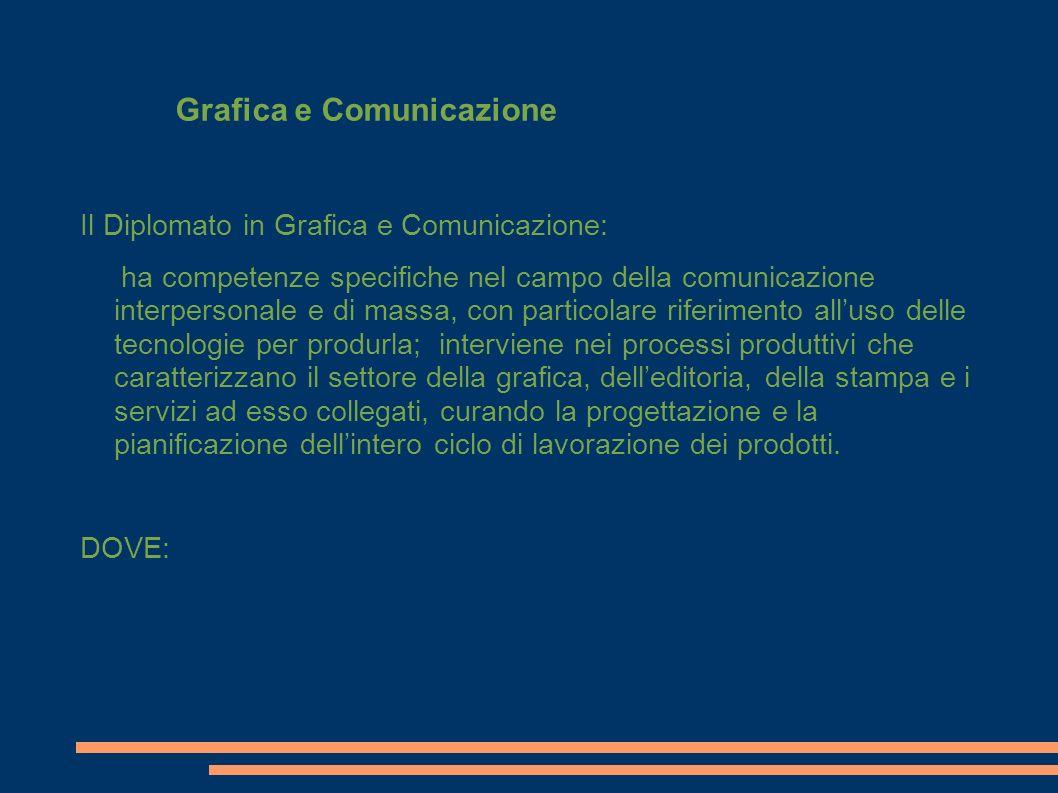 Il Diplomato in Grafica e Comunicazione: ha competenze specifiche nel campo della comunicazione interpersonale e di massa, con particolare riferimento