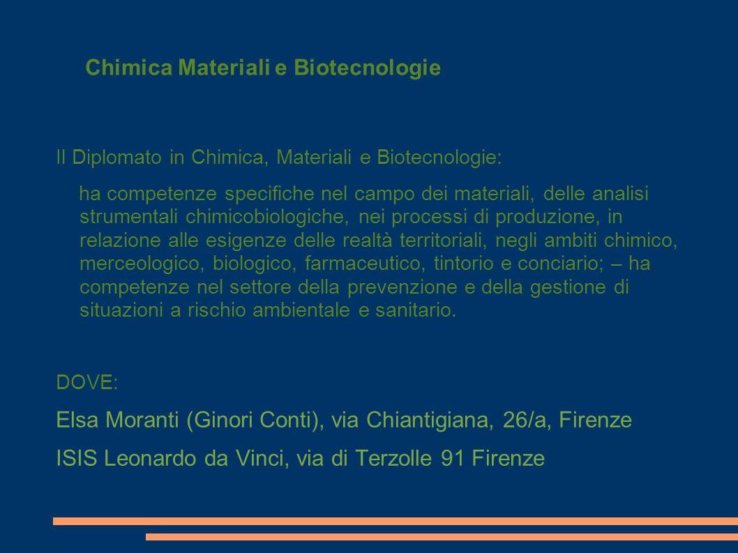 Chimica Materiali e Biotecnologie Il Diplomato in Chimica, Materiali e Biotecnologie: ha competenze specifiche nel campo dei materiali, delle analisi