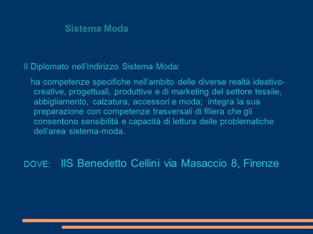 Sistema Moda Il Diplomato nellIndirizzo Sistema Moda: ha competenze specifiche nellambito delle diverse realtà ideativo- creative, progettuali, produt