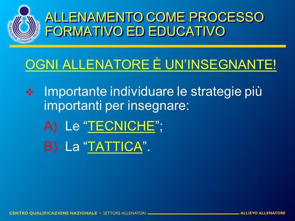 ALLENAMENTO COME PROCESSO FORMATIVO ED EDUCATIVO OGNI ALLENATORE È UNINSEGNANTE! Importante individuare le strategie più importanti per insegnare: A)L