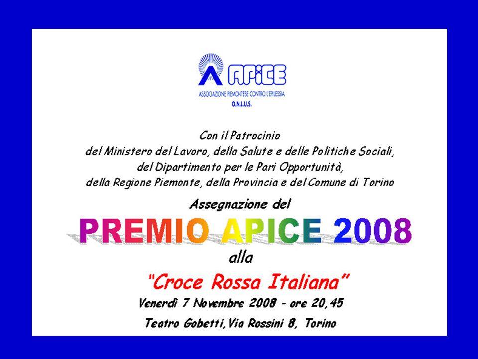Il PREMIO APICE 2008 è stato attribuito alla CROCE ROSSA ITALIANA con la motivazione: Per laiuto umanitario donato senza discriminazione alcuna alle persone sofferenti