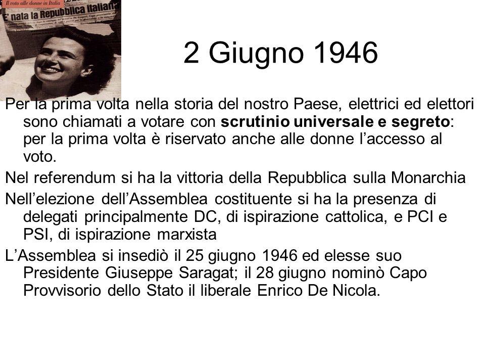2 Giugno 1946 Per la prima volta nella storia del nostro Paese, elettrici ed elettori sono chiamati a votare con scrutinio universale e segreto: per l