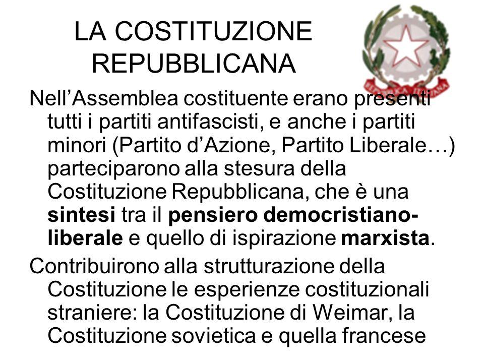 LA COSTITUZIONE REPUBBLICANA NellAssemblea costituente erano presenti tutti i partiti antifascisti, e anche i partiti minori (Partito dAzione, Partito