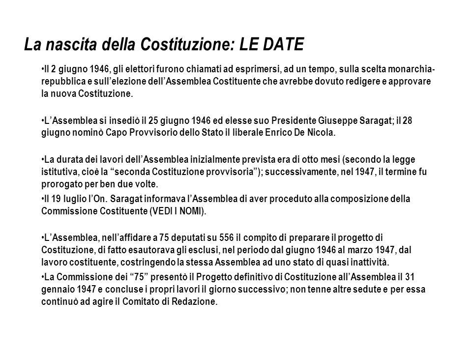 La nascita della Costituzione: LE DATE Il 2 giugno 1946, gli elettori furono chiamati ad esprimersi, ad un tempo, sulla scelta monarchia- repubblica e