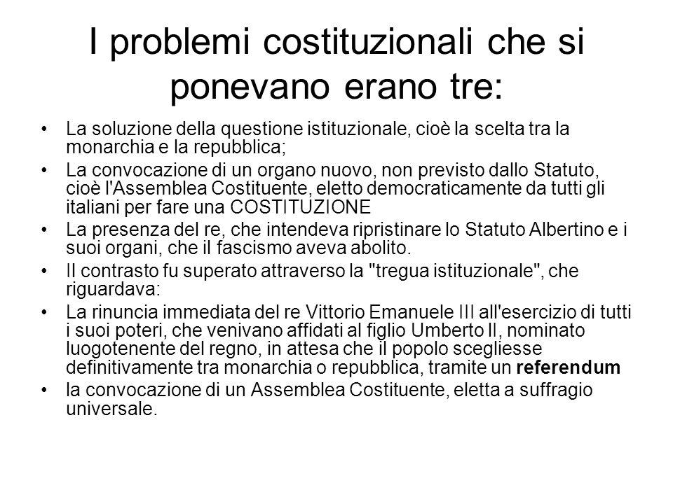 I problemi costituzionali che si ponevano erano tre: La soluzione della questione istituzionale, cioè la scelta tra la monarchia e la repubblica; La c