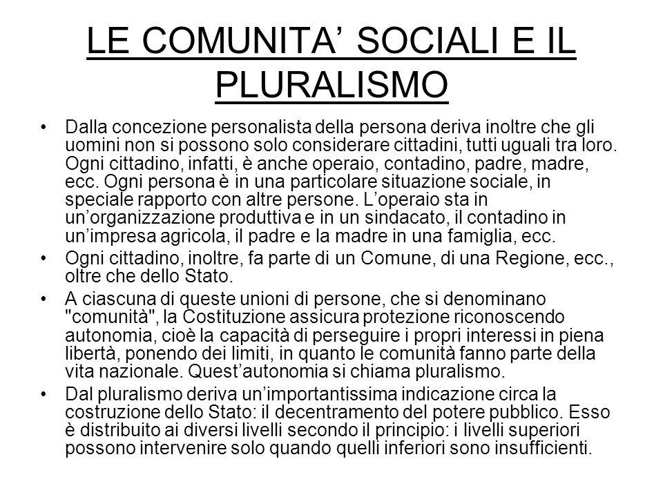 LE COMUNITA SOCIALI E IL PLURALISMO Dalla concezione personalista della persona deriva inoltre che gli uomini non si possono solo considerare cittadin