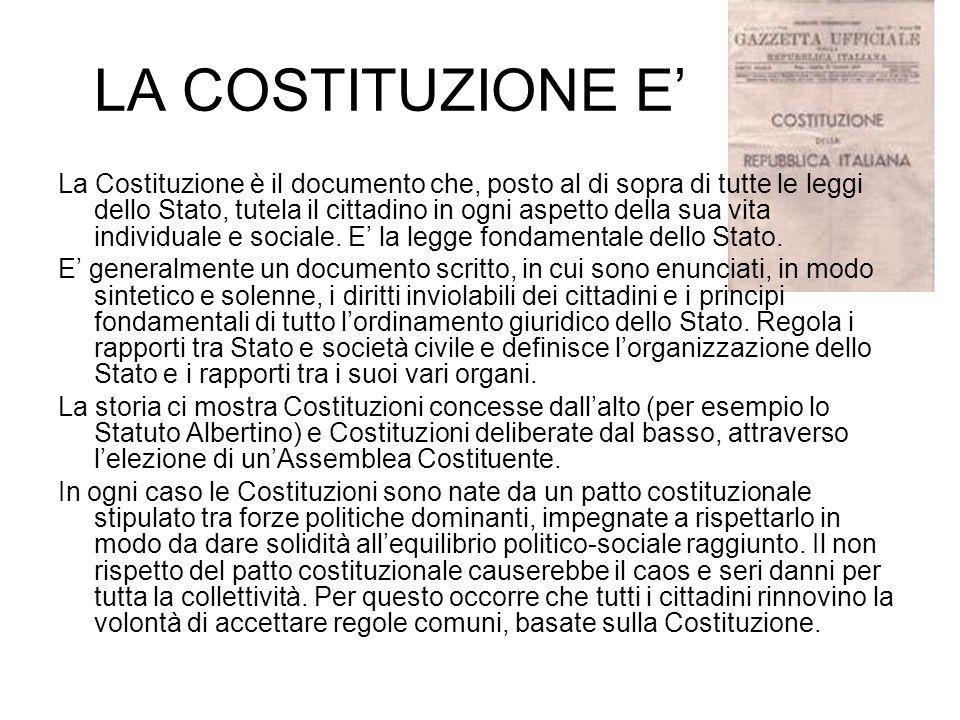 LA COSTITUZIONE E La Costituzione è il documento che, posto al di sopra di tutte le leggi dello Stato, tutela il cittadino in ogni aspetto della sua v