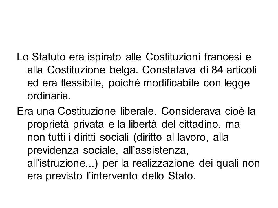 Lo Statuto era ispirato alle Costituzioni francesi e alla Costituzione belga. Constatava di 84 articoli ed era flessibile, poiché modificabile con leg