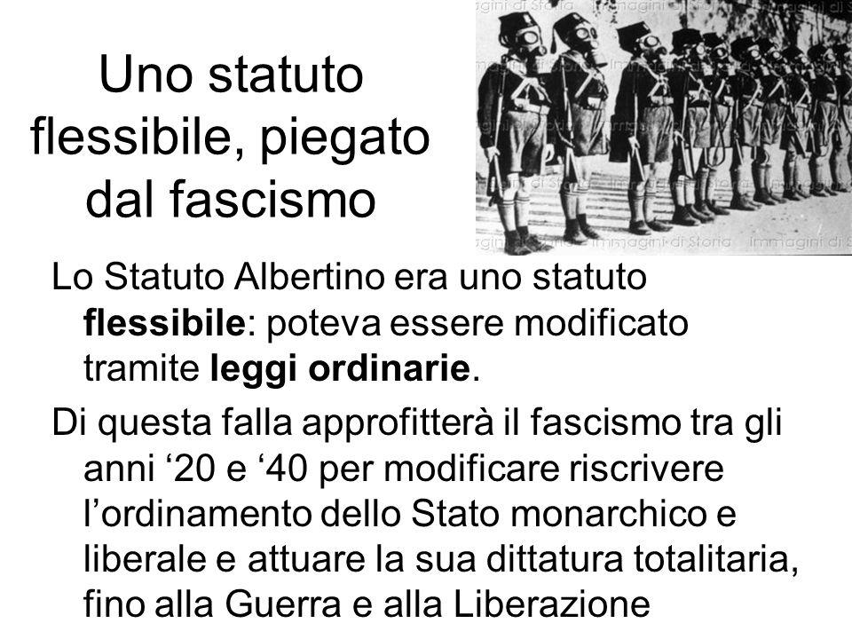 Uno statuto flessibile, piegato dal fascismo Lo Statuto Albertino era uno statuto flessibile: poteva essere modificato tramite leggi ordinarie. Di que