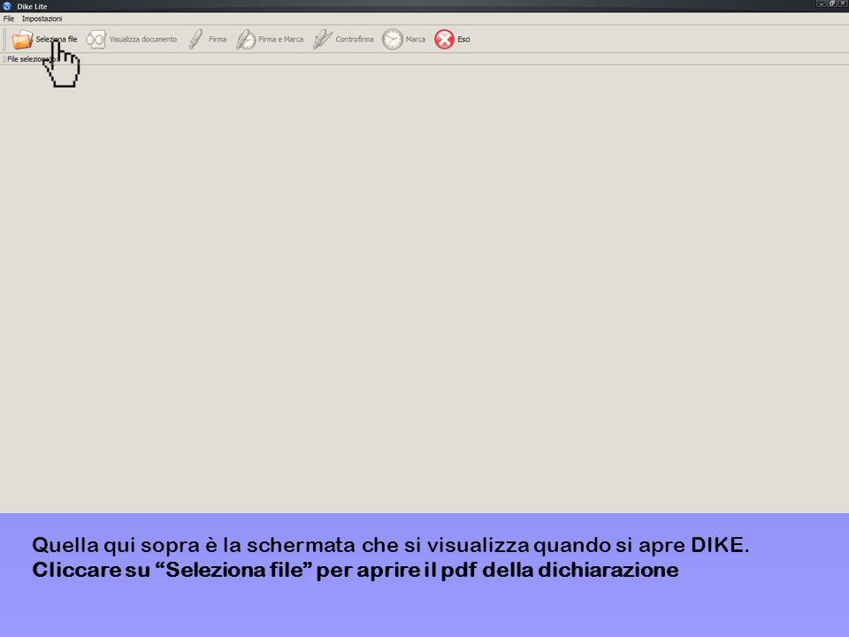 Quella qui sopra è la schermata che si visualizza quando si apre DIKE. Cliccare su Seleziona file per aprire il pdf della dichiarazione