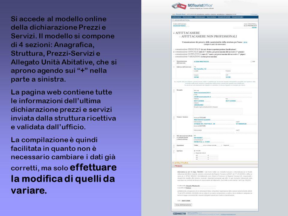 Si accede al modello online della dichiarazione Prezzi e Servizi. Il modello si compone di 4 sezioni: Anagrafica, Struttura, Prezzi-Servizi e Allegato