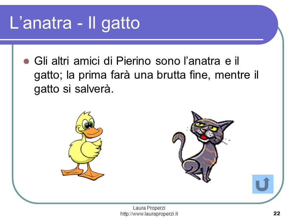 Laura Properzi http://www.lauraproperzi.it22 Lanatra - Il gatto Gli altri amici di Pierino sono lanatra e il gatto; la prima farà una brutta fine, men