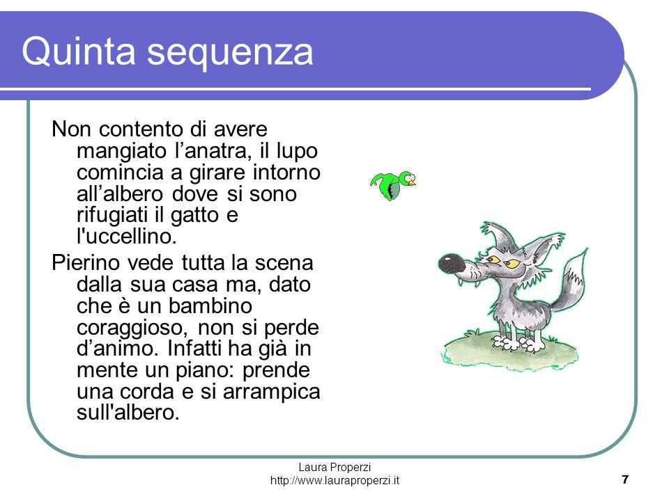 Laura Properzi http://www.lauraproperzi.it7 Quinta sequenza Non contento di avere mangiato lanatra, il lupo comincia a girare intorno allalbero dove s