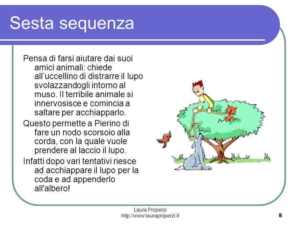 Laura Properzi http://www.lauraproperzi.it8 Sesta sequenza Pensa di farsi aiutare dai suoi amici animali: chiede alluccellino di distrarre il lupo svo
