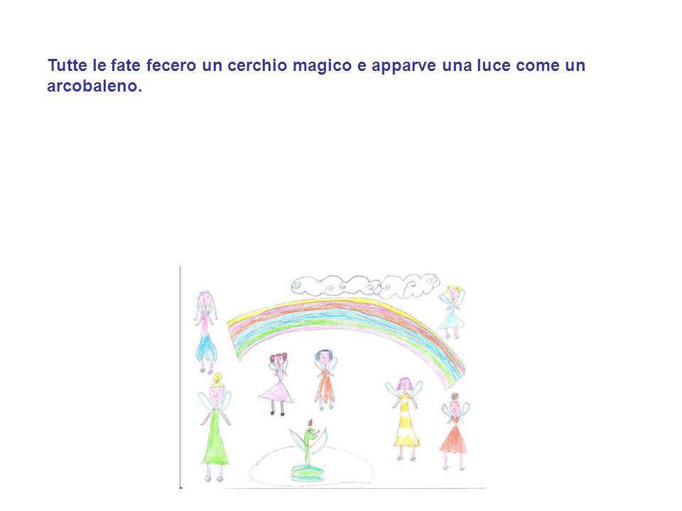 Tutte le fate fecero un cerchio magico e apparve una luce come un arcobaleno.