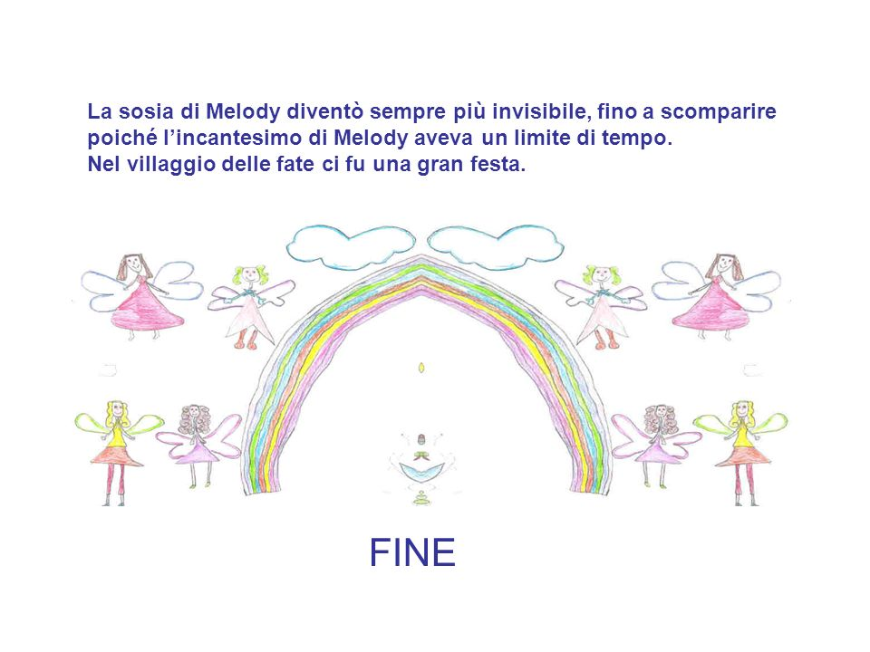 La sosia di Melody diventò sempre più invisibile, fino a scomparire poiché lincantesimo di Melody aveva un limite di tempo. Nel villaggio delle fate c
