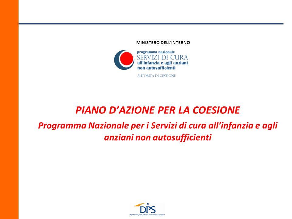 MINISTERO DELLINTERNO PIANO DAZIONE PER LA COESIONE Programma Nazionale per i Servizi di cura allinfanzia e agli anziani non autosufficienti