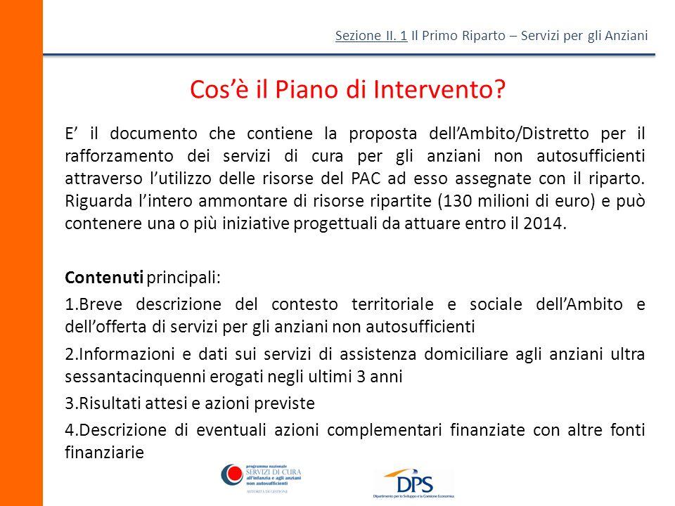 Sezione II.1 Il Primo Riparto – Servizi per gli Anziani Cosè il Piano di Intervento.