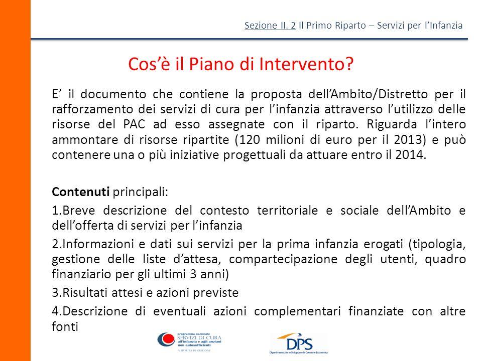 Sezione II.2 Il Primo Riparto – Servizi per lInfanzia Cosè il Piano di Intervento.