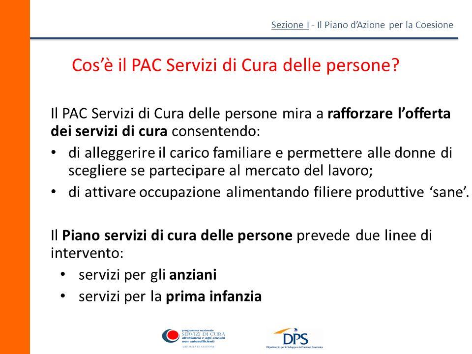 Sezione I - Il Piano dAzione per la Coesione Quali sono gli obiettivi del PAC Servizi di Cura delle persone.