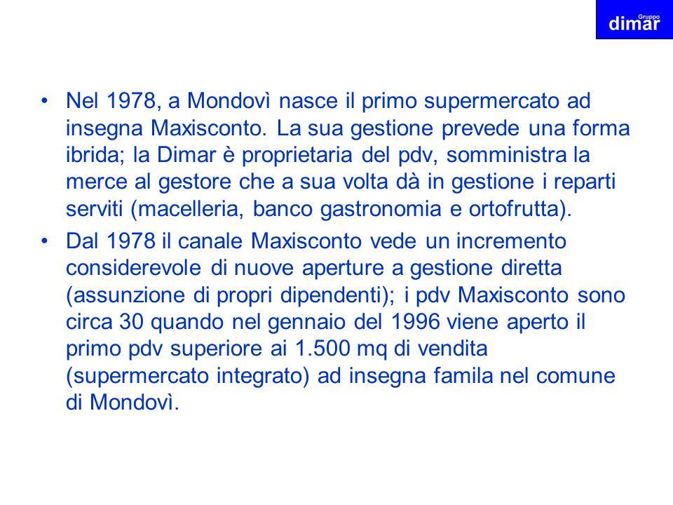 Nel 1978, a Mondovì nasce il primo supermercato ad insegna Maxisconto. La sua gestione prevede una forma ibrida; la Dimar è proprietaria del pdv, somm