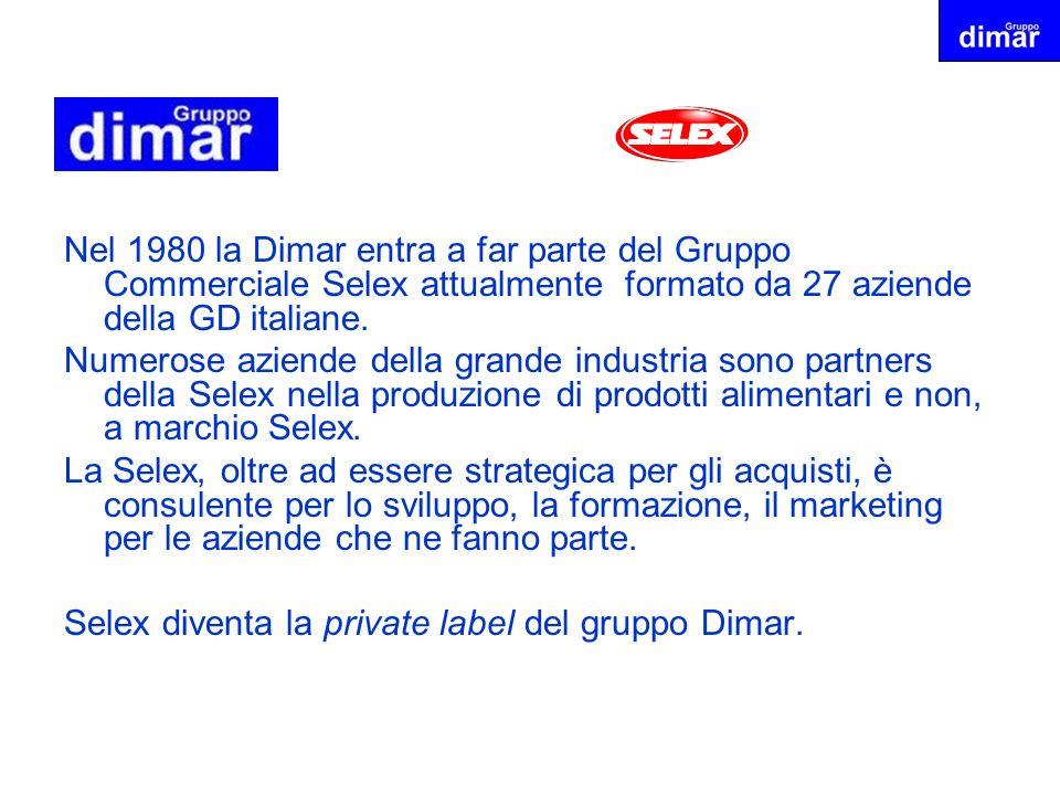 Nel 1980 la Dimar entra a far parte del Gruppo Commerciale Selex attualmente formato da 27 aziende della GD italiane. Numerose aziende della grande in