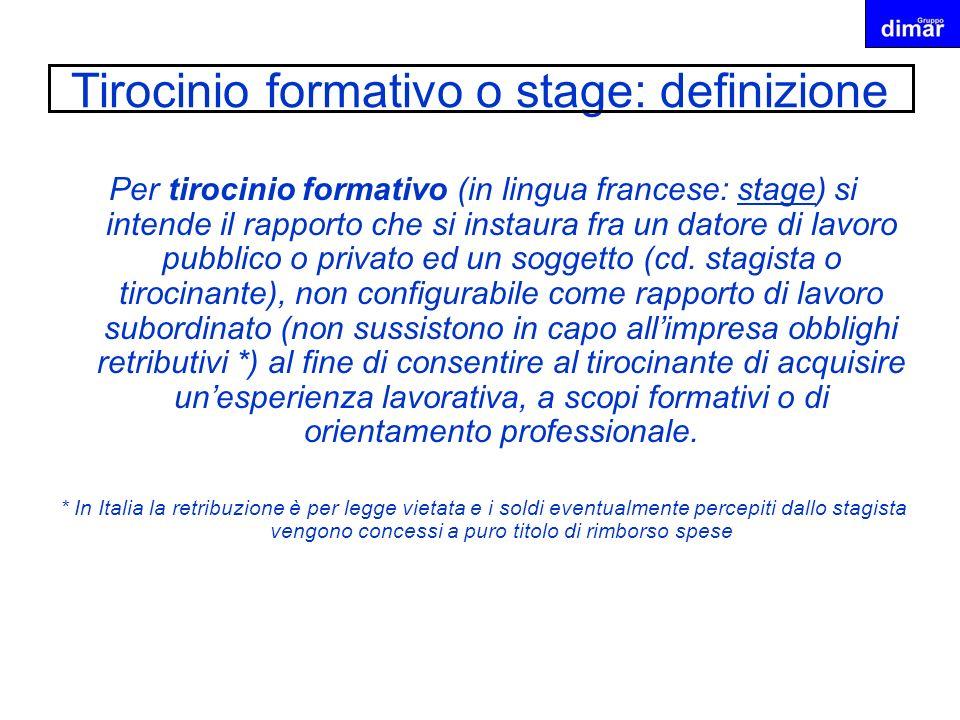 Tirocinio formativo o stage: definizione Per tirocinio formativo (in lingua francese: stage) si intende il rapporto che si instaura fra un datore di l