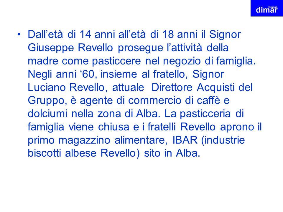 Dalletà di 14 anni alletà di 18 anni il Signor Giuseppe Revello prosegue lattività della madre come pasticcere nel negozio di famiglia. Negli anni 60,