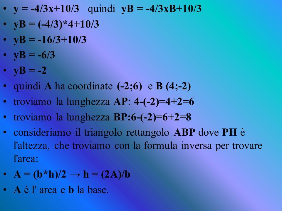 tracciamo le parallele agli assi fino ad incontrare la nostra retta in due punti, che andiamo a chiamare A e B.