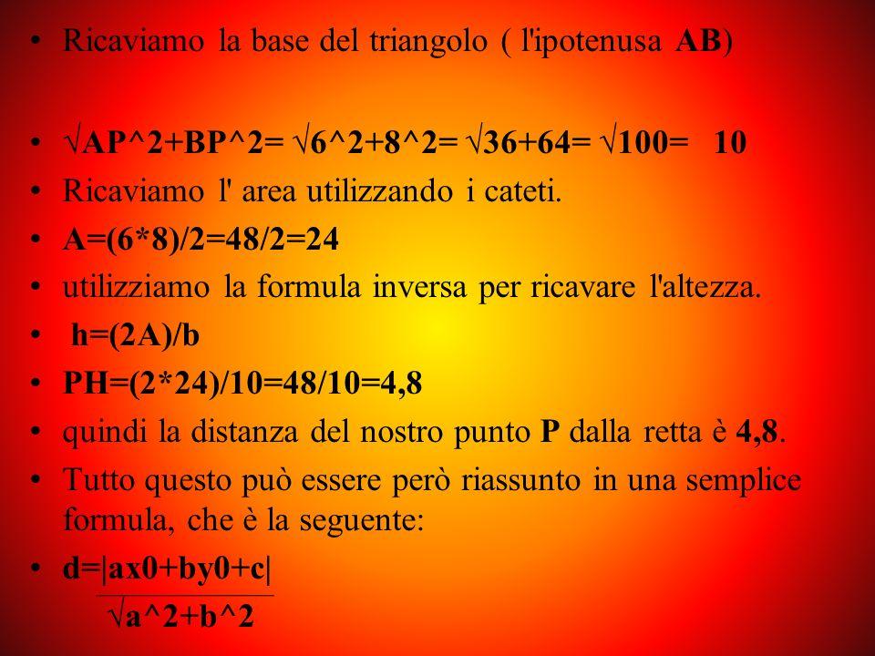 y = -4/3x+10/3 quindi yB = -4/3xB+10/3 yB = (-4/3)*4+10/3 yB = -16/3+10/3 yB = -6/3 yB = -2 quindi A ha coordinate (-2;6) e B (4;-2) troviamo la lunghezza AP: 4-(-2)=4+2=6 troviamo la lunghezza BP:6-(-2)=6+2=8 consideriamo il triangolo rettangolo ABP dove PH è l altezza, che troviamo con la formula inversa per trovare l area: A = (b*h)/2 h = (2A)/b A è l area e b la base.