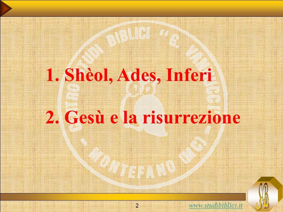 www.studibiblici.it 2 1. Shèol, Ades, Inferi 2. Gesù e la risurrezione