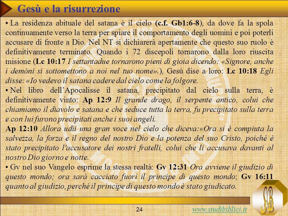 www.studibiblici.it 24 La residenza abituale del satana è il cielo (c.f. Gb1:6-8), da dove fa la spola continuamente verso la terra per spiare il comp
