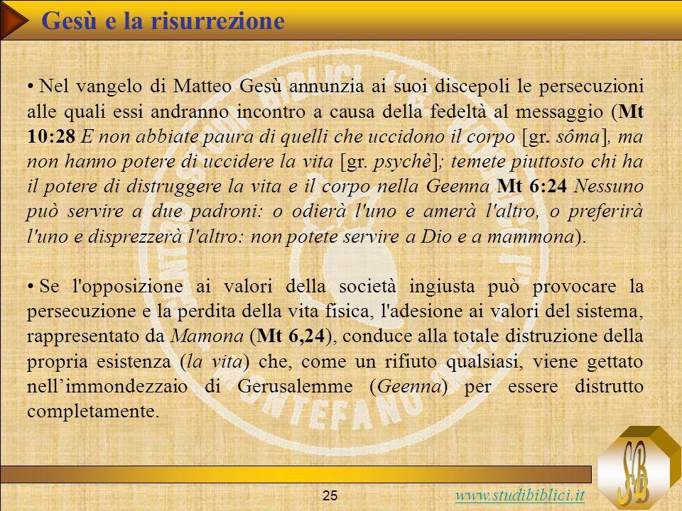 www.studibiblici.it 25 Nel vangelo di Matteo Gesù annunzia ai suoi discepoli le persecuzioni alle quali essi andranno incontro a causa della fedeltà a