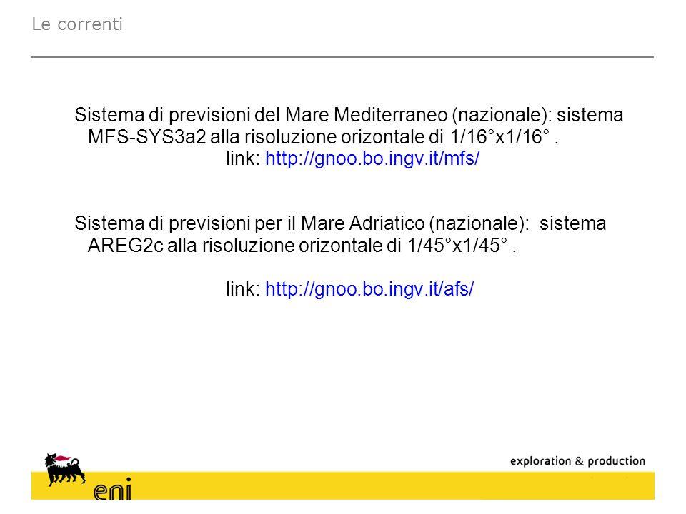 Sistema di previsioni del Mare Mediterraneo (nazionale): sistema MFS-SYS3a2 alla risoluzione orizontale di 1/16°x1/16°. link: http://gnoo.bo.ingv.it/m
