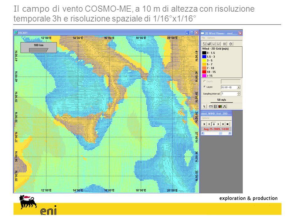 Il campo di vento COSMO-ME, a 10 m di altezza con risoluzione temporale 3h e risoluzione spaziale di 1/16°x1/16°