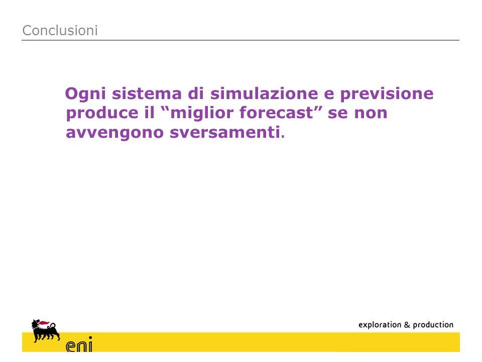 Conclusioni Ogni sistema di simulazione e previsione produce il miglior forecast se non avvengono sversamenti.